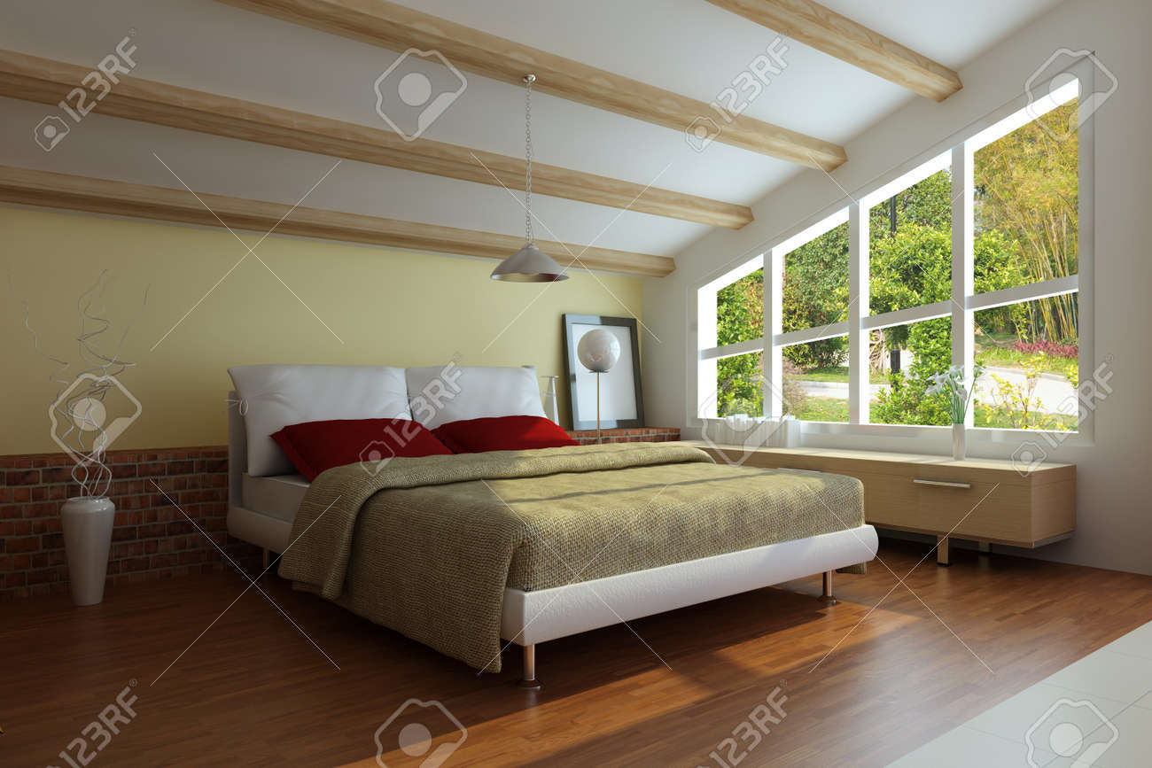 bedroom interior.3d render.I am the author of image which out of the window Stock Photo - 7162016