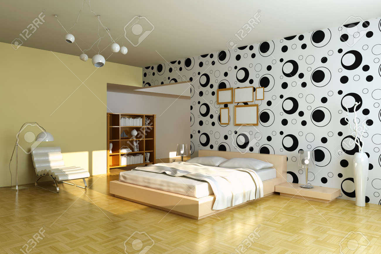 Modern Bedroom.3d Render.I Am The Author Of Wallpaper Stock Photo   7162012