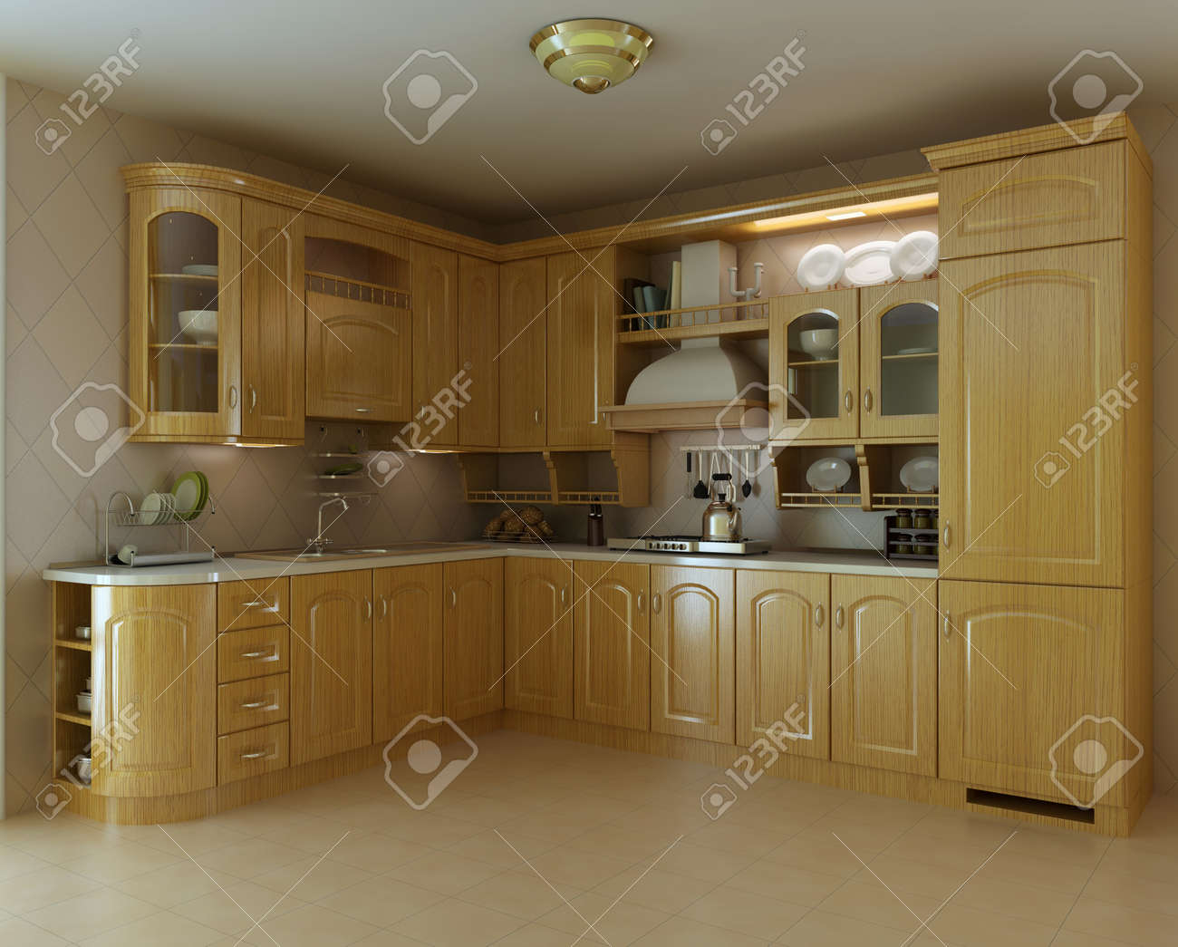 classic luxury kitchen.3d render Stock Photo - 7253139