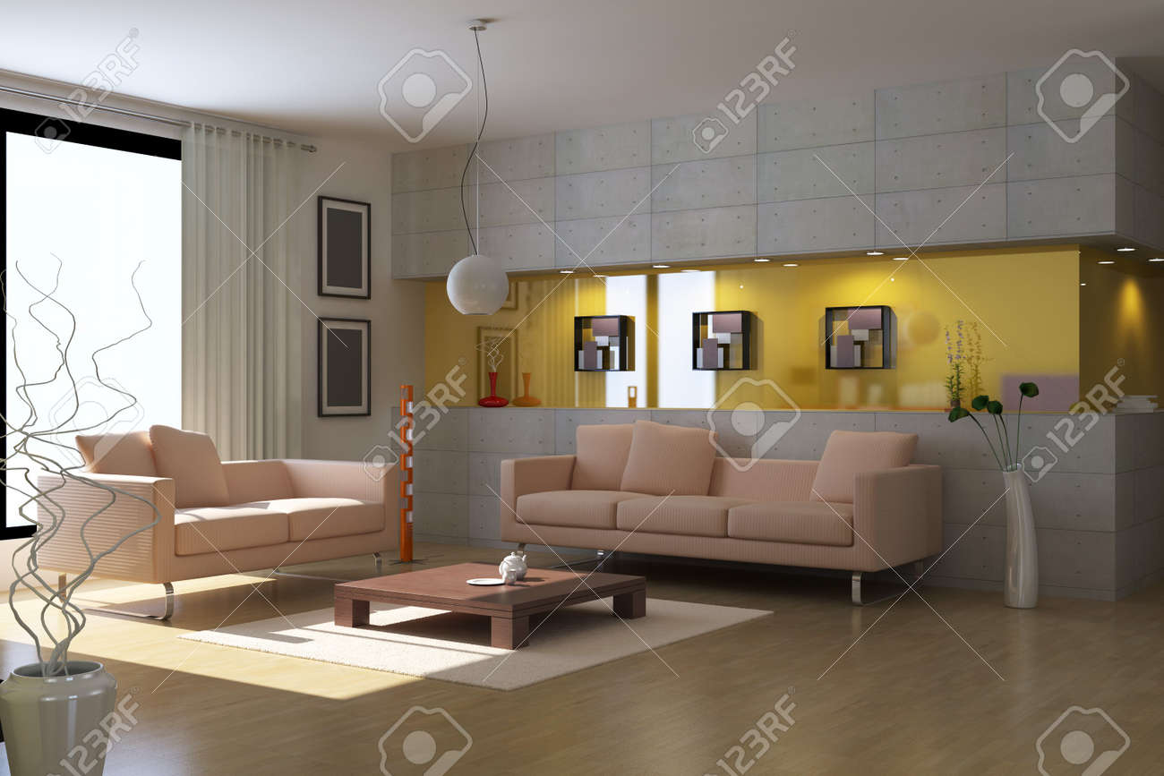 3d render interior of modern living room Stock Photo - 7297586