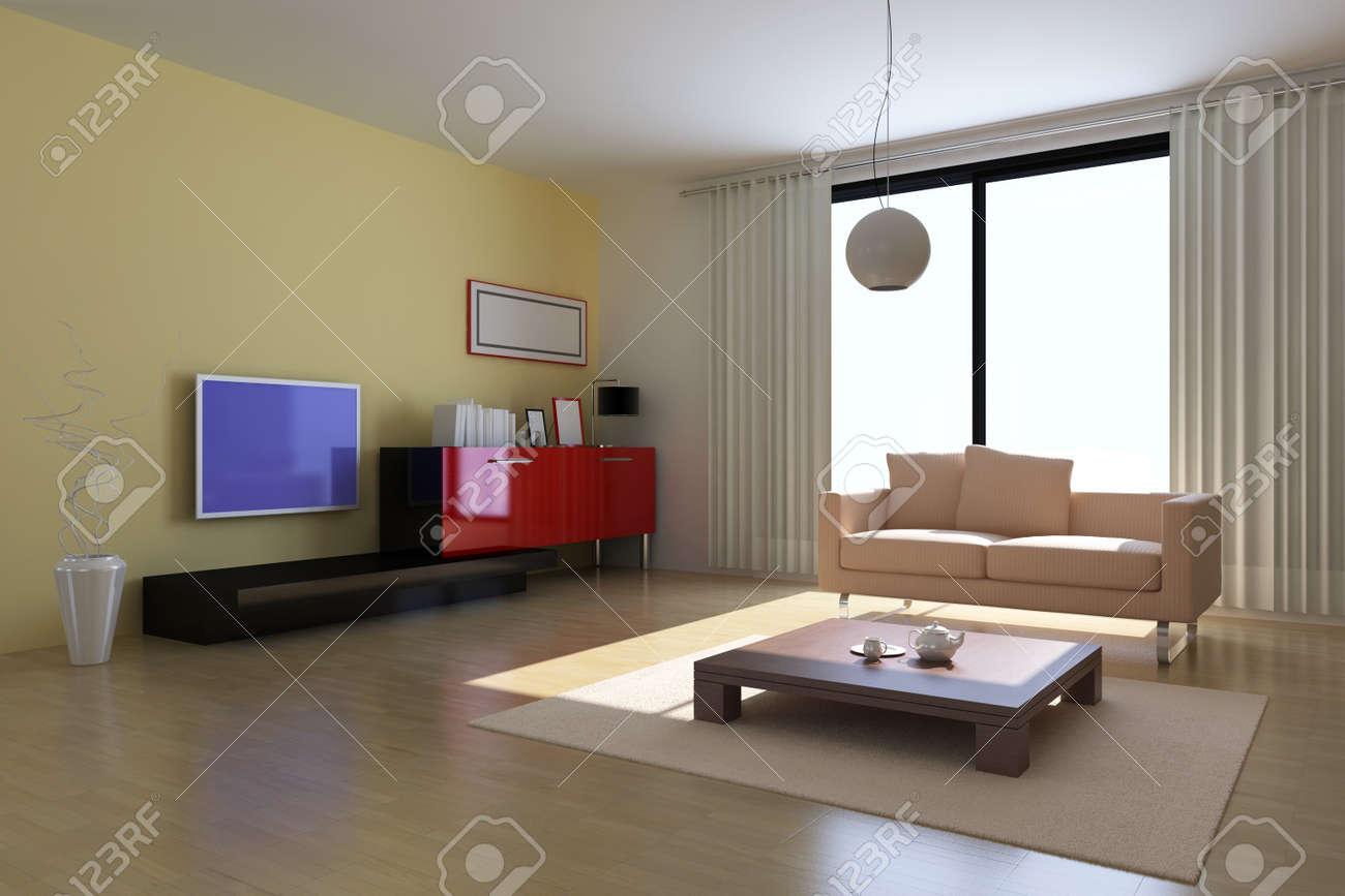 3d render interior of modern living room Stock Photo - 7297583