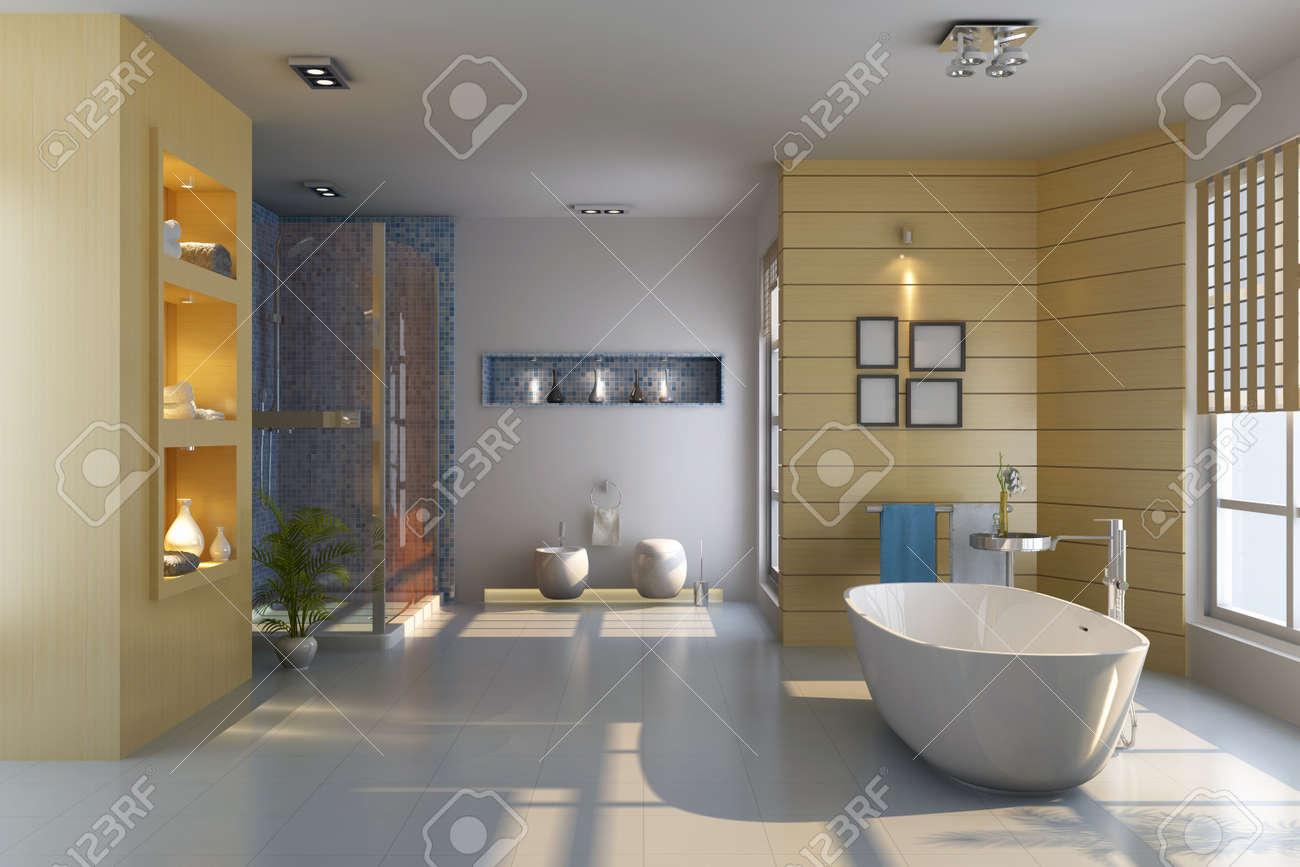 3d render interior of modern bathroom Stock Photo - 7492972