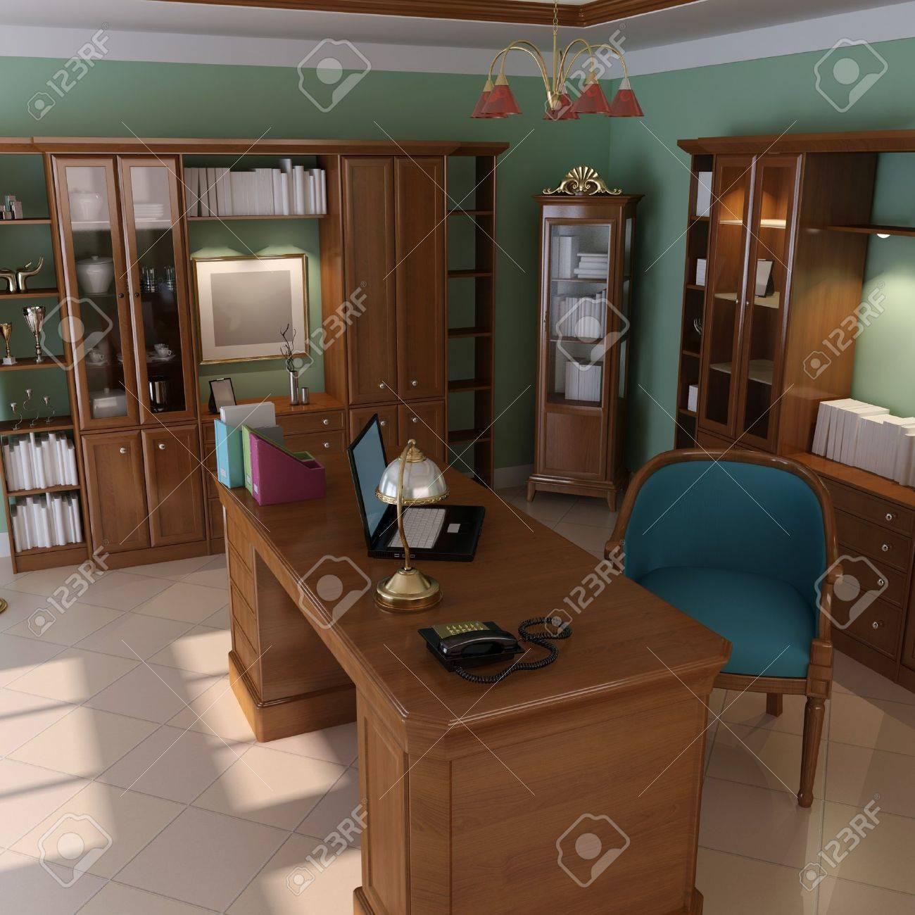 3d render interior of luxury classic study room Stock Photo - 7712003