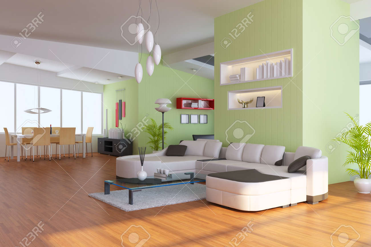 living room with modern style.3d render Stock Photo - 7845324