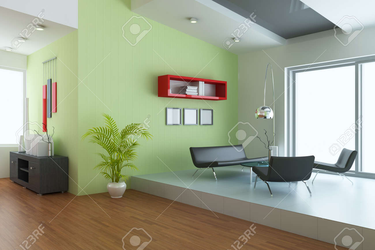 living room with modern style.3d render Stock Photo - 7845316