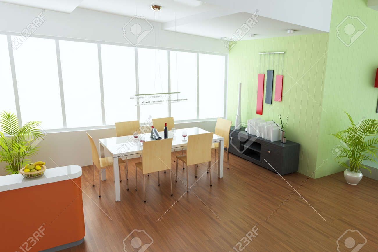 dining room with modern style.3d render Stock Photo - 7845323
