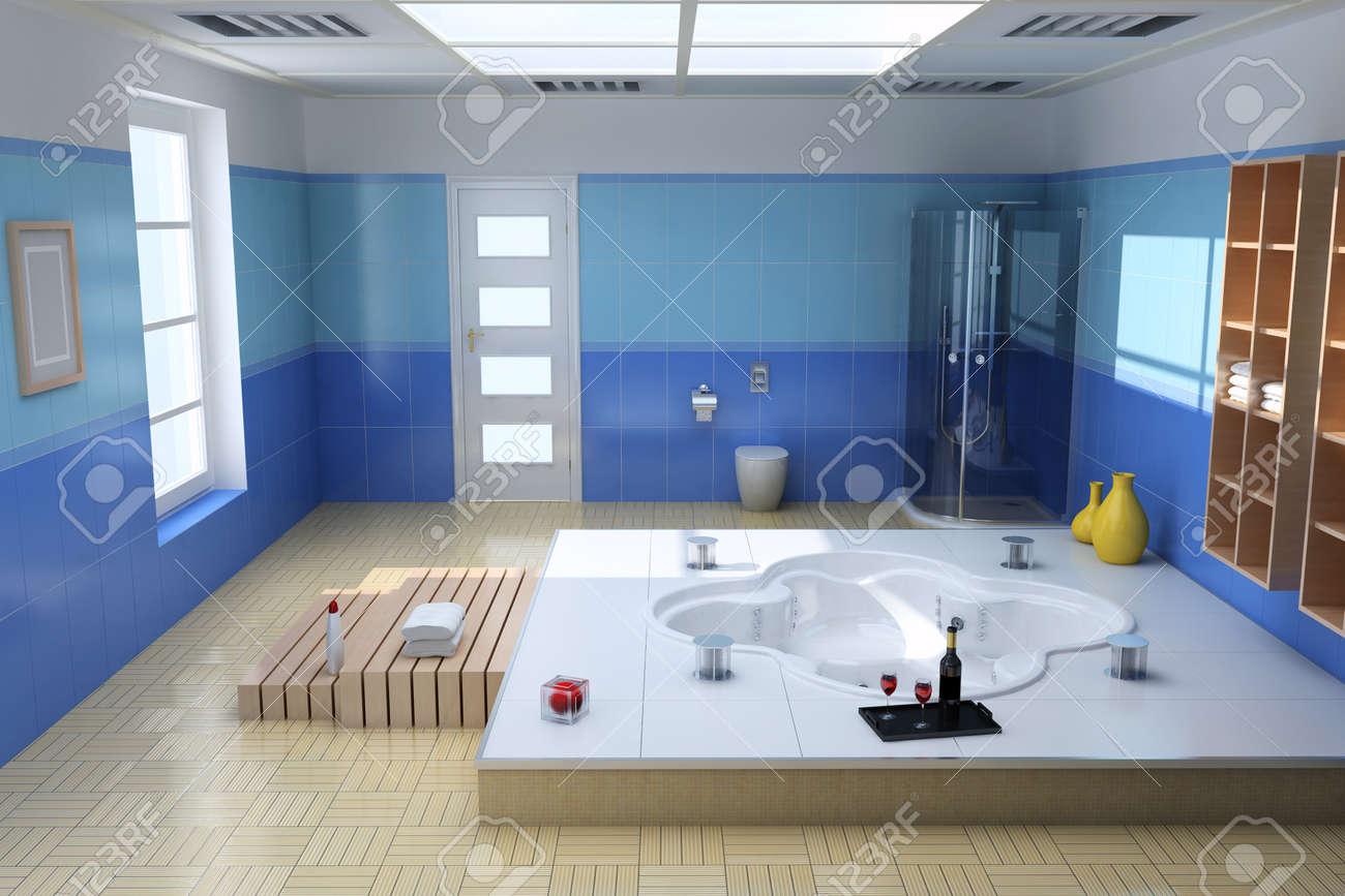Intérieur De Rendu 3D De La Salle De Bain Moderne De Luxe Banque D ...