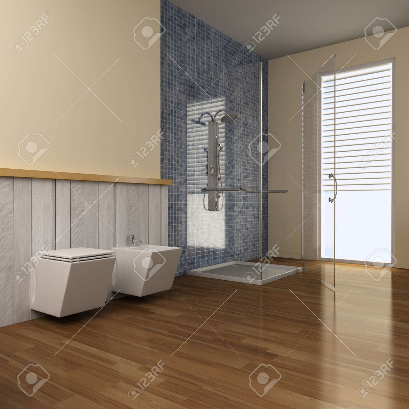 3d render interior of modern bathroom Standard-Bild - 8656048