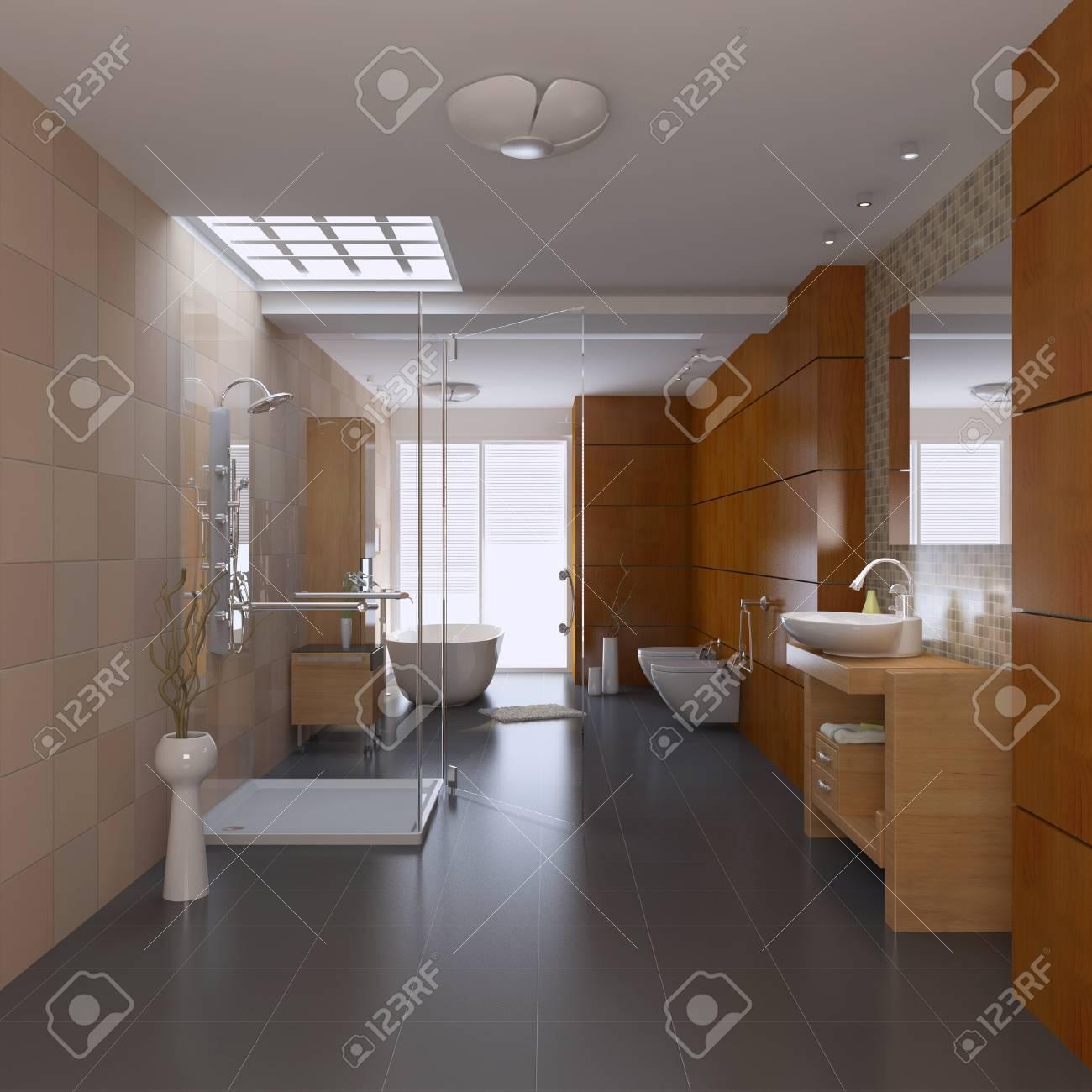 3d render interior of modern bathroom Standard-Bild - 8656034