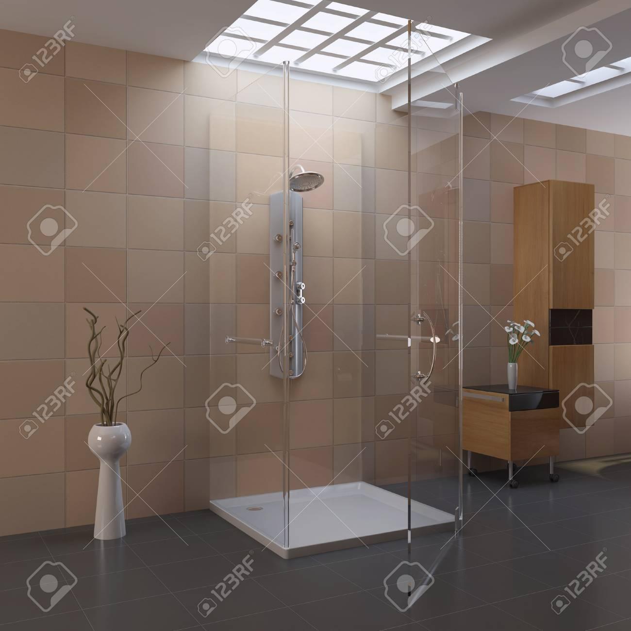 3d render interior of modern bathroom Standard-Bild - 8656026