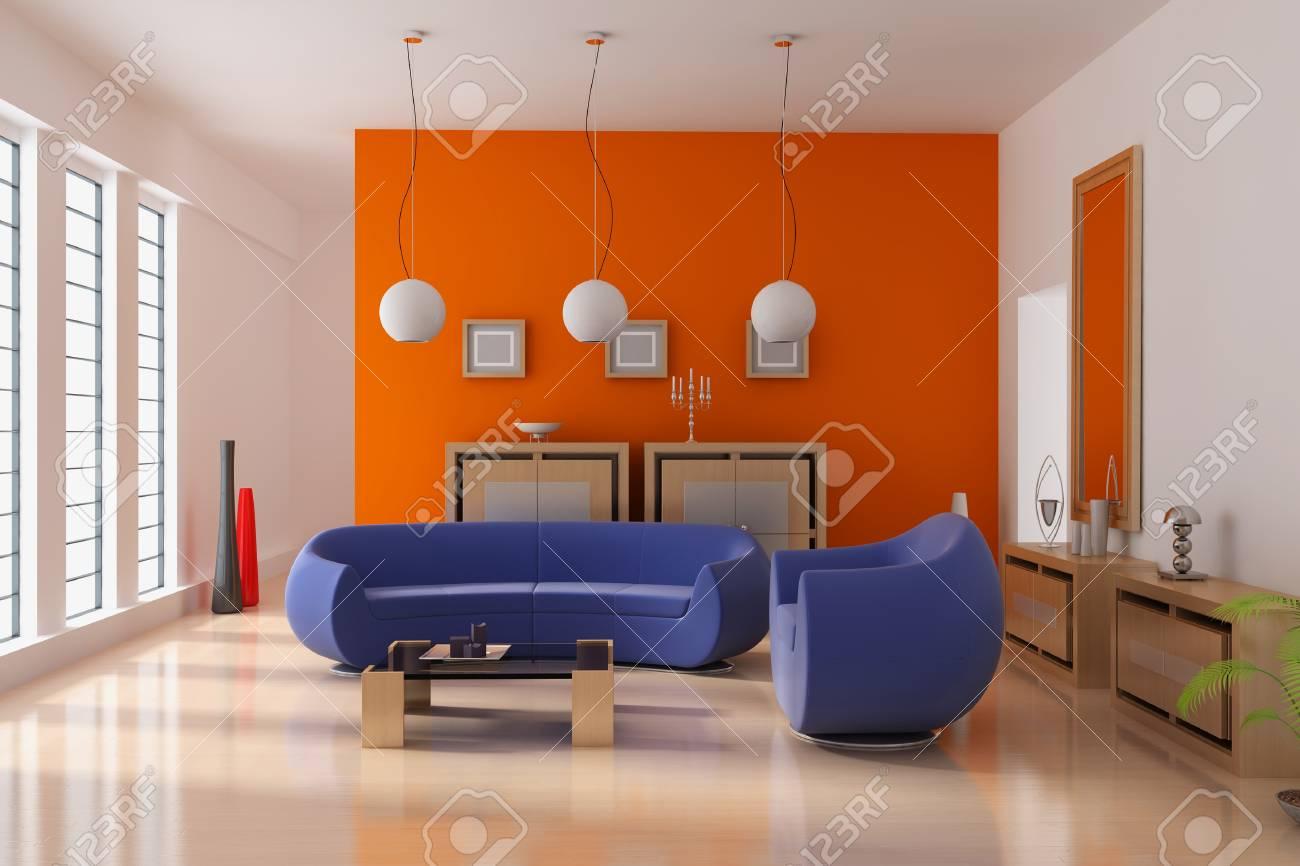 3d render interior of modern living room Standard-Bild - 8656005