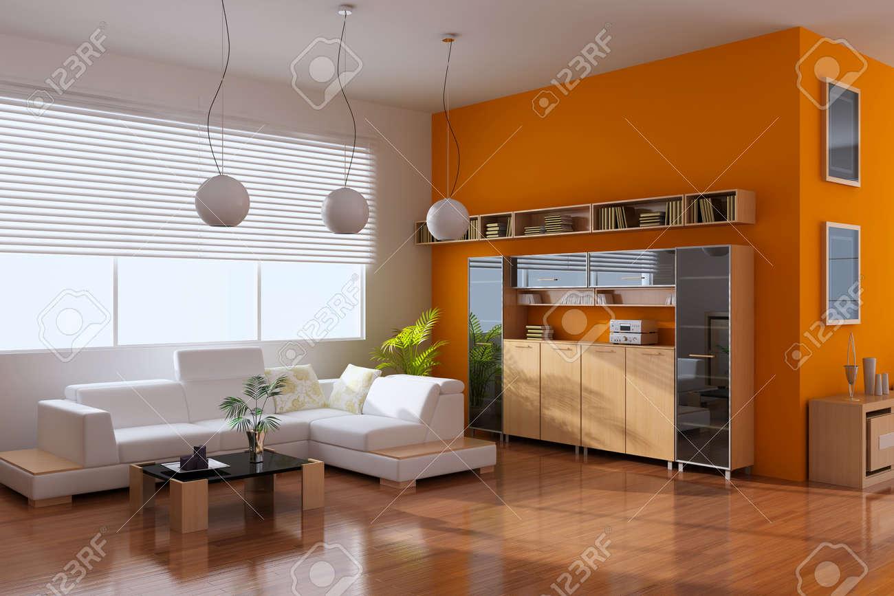 3d render interior of modern living room Standard-Bild - 8656035