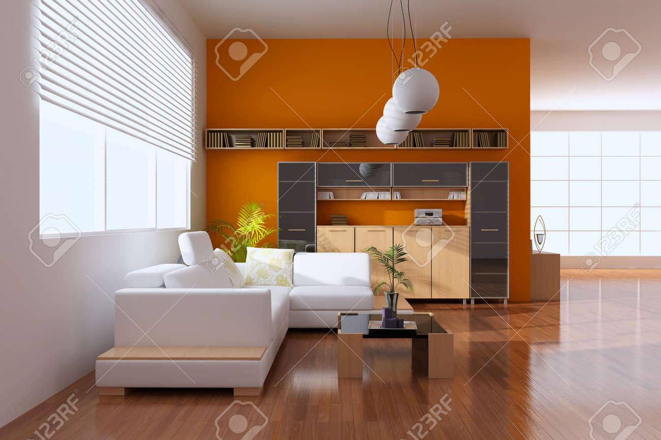 3d render interior of modern living room Stock Photo - 8656031