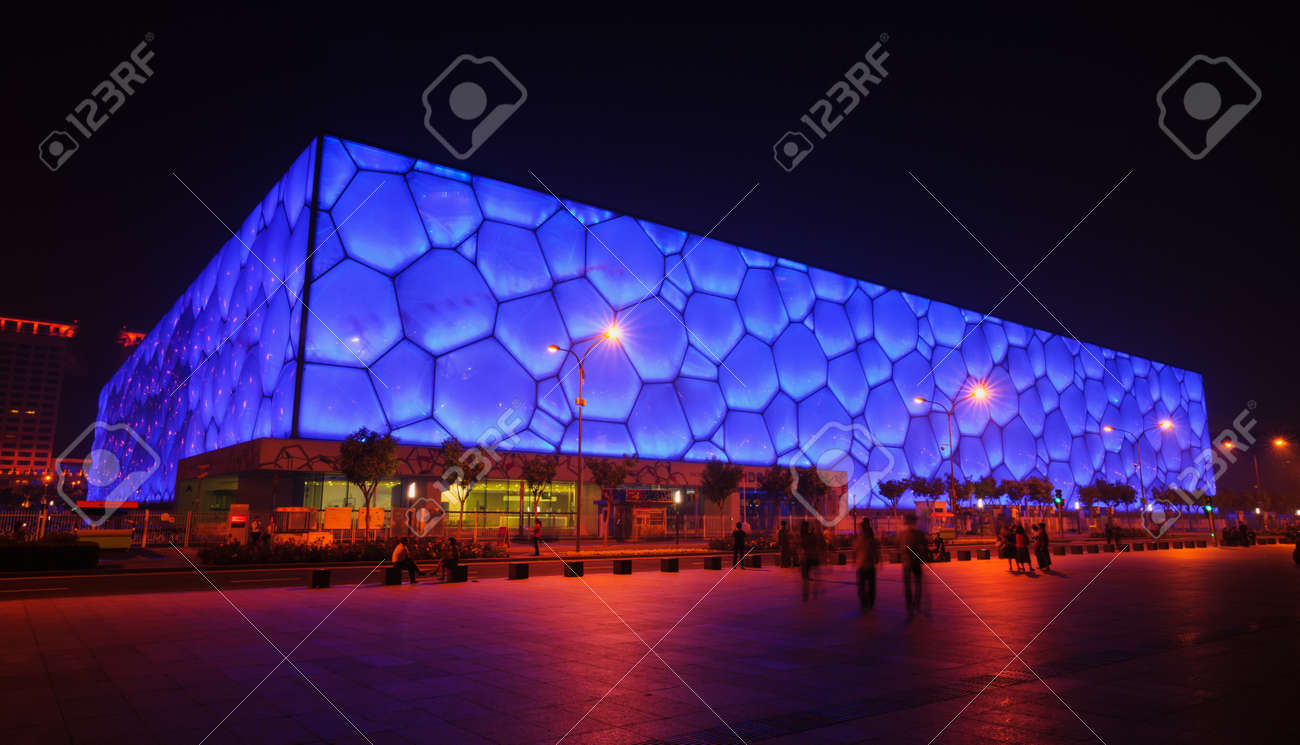 Beijing, China - June 1, 2012: The Beijing National Aquatics Center(the Water Cube) is the 2008 Summer Olympic Games swimming stadium.The modern and abstract design,made the Water Cube becoming the landmark of Beijing,even China.this photo was take in nig Standard-Bild - 20030695