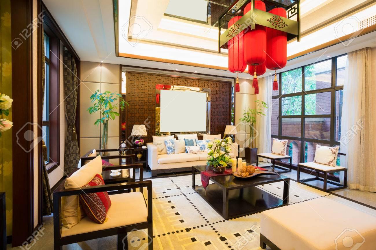 Luxus Wohnzimmer Mit Schönen Dekoration Der Chinesischen Stil Standard Bild    24225835