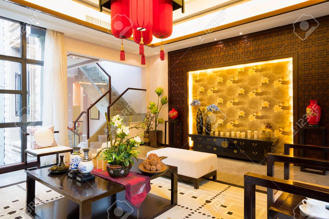 Luxus Wohnzimmer Mit Schöne Dekoration Der Chinesischen Stil Standard Bild    24283016
