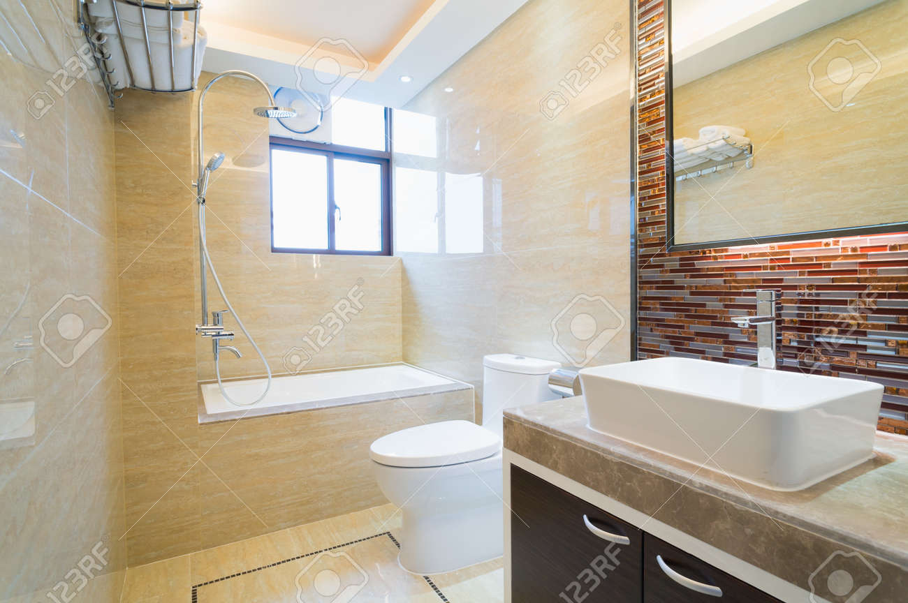 modern bathroom with nice decoration Stock Photo - 25285507