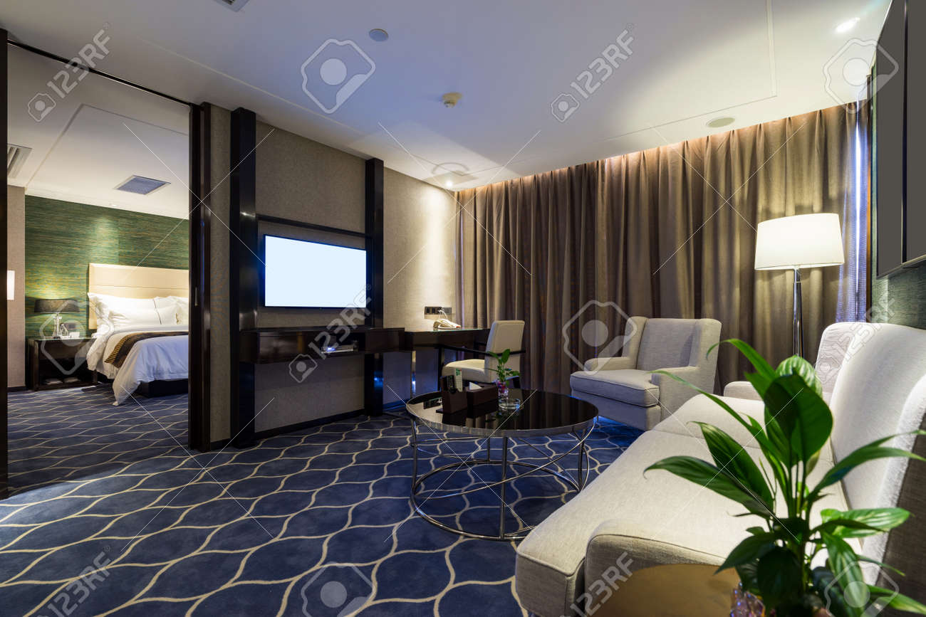 luxury hotel room with decoration stock photo 44127464