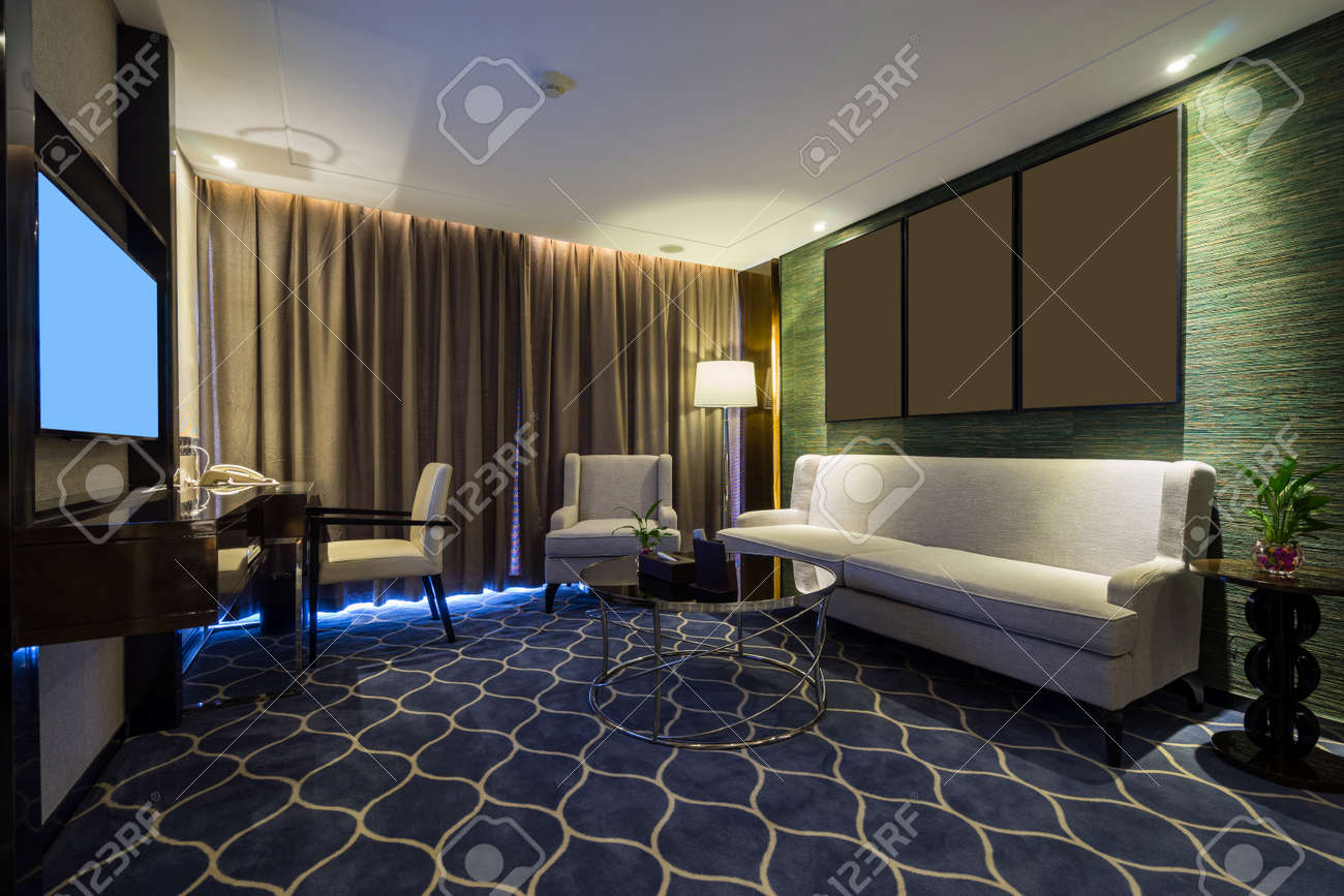 luxury hotel room with decoration stock photo 44128020