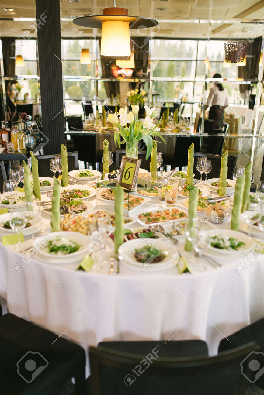 Banquet Table At The Wedding With A Light Green Color Accent Stock Photo Picture And Royalty Free Image 136205628