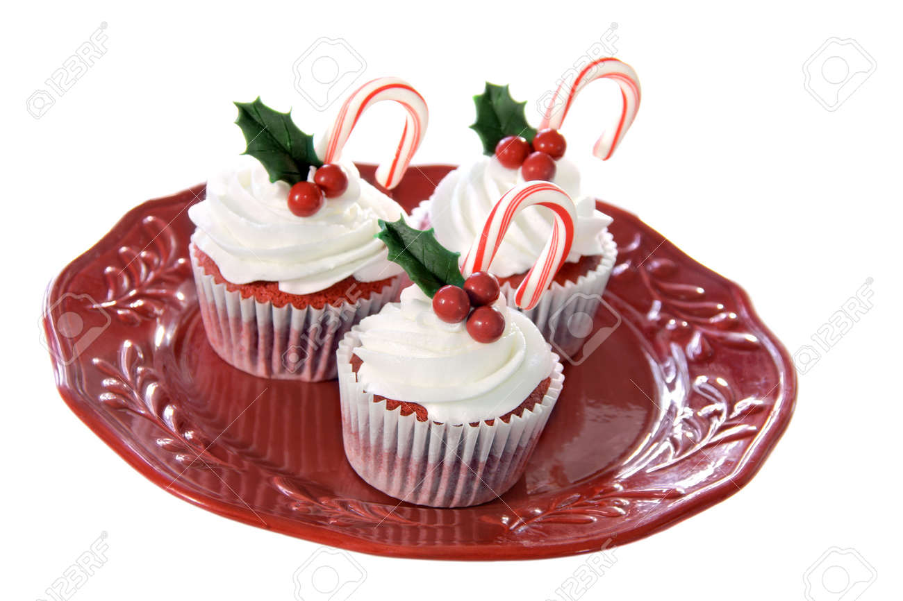 Christmas decorated red velvet cupcakes Stock Photo - 8385779