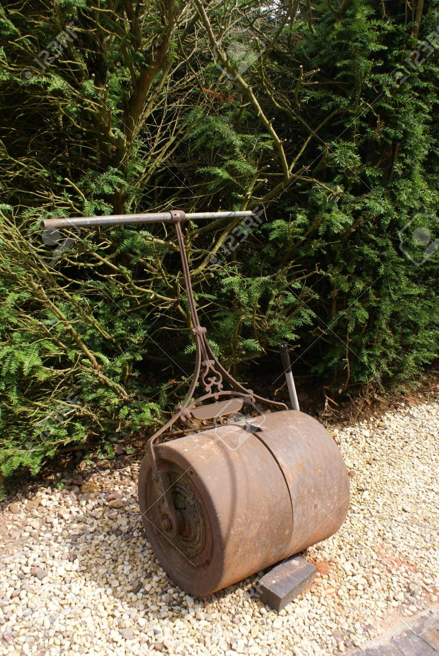 Vintage Garden Lawn Roller Stock Photo, Picture And Royalty Free ...