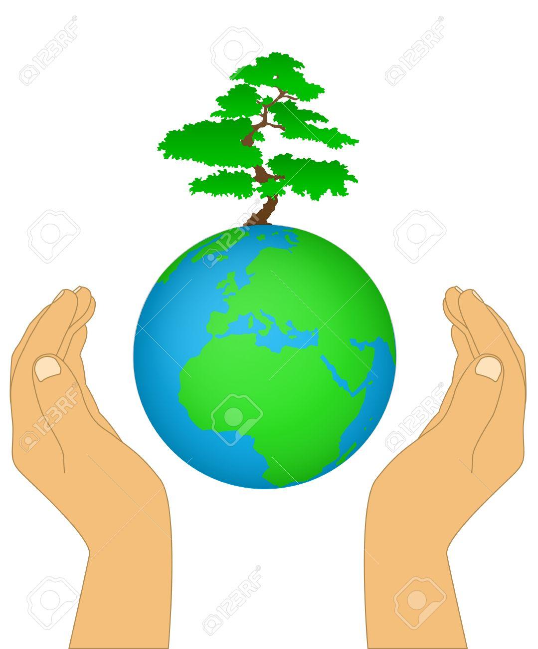 Нарисованная земля с руками