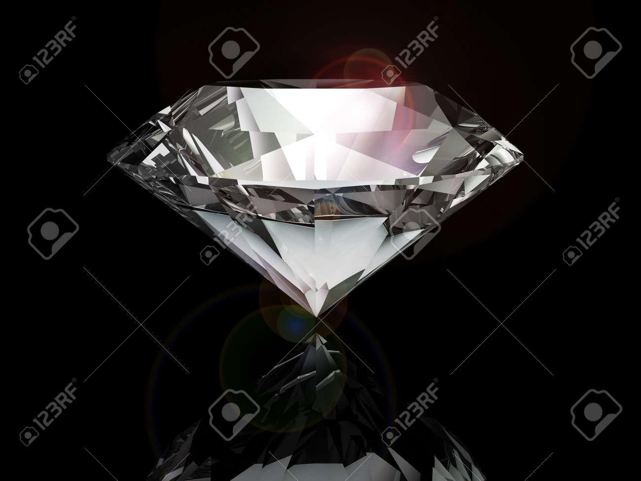 diamond on black background Stock Photo - 20010343