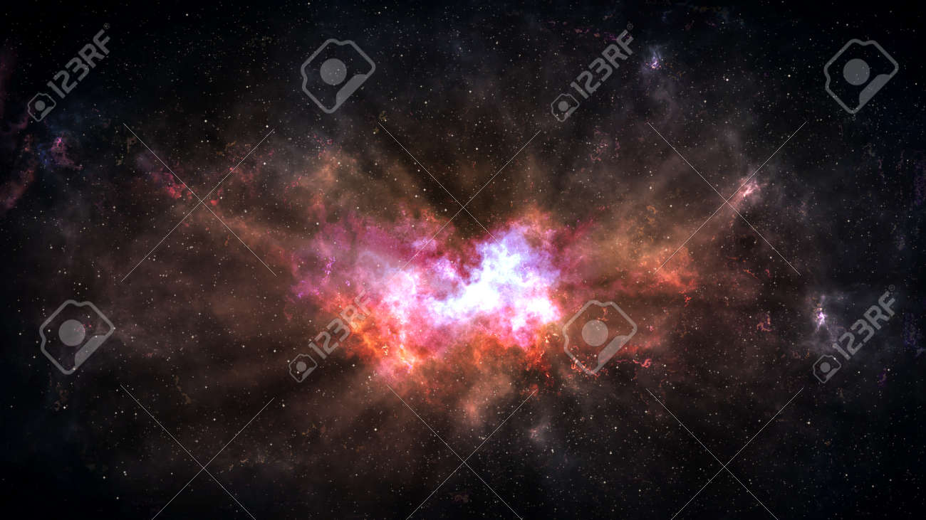 Universe filled with stars, deep space nebula and galaxy - 122302517