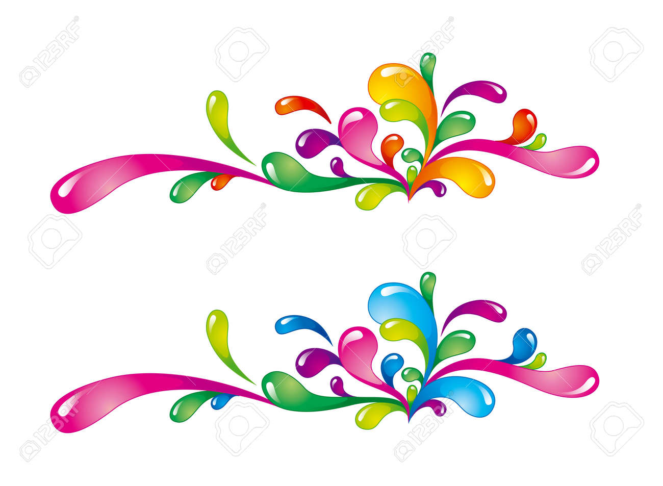 Bright colorful splashes oriented horizontally on white Stock Vector - 10928006