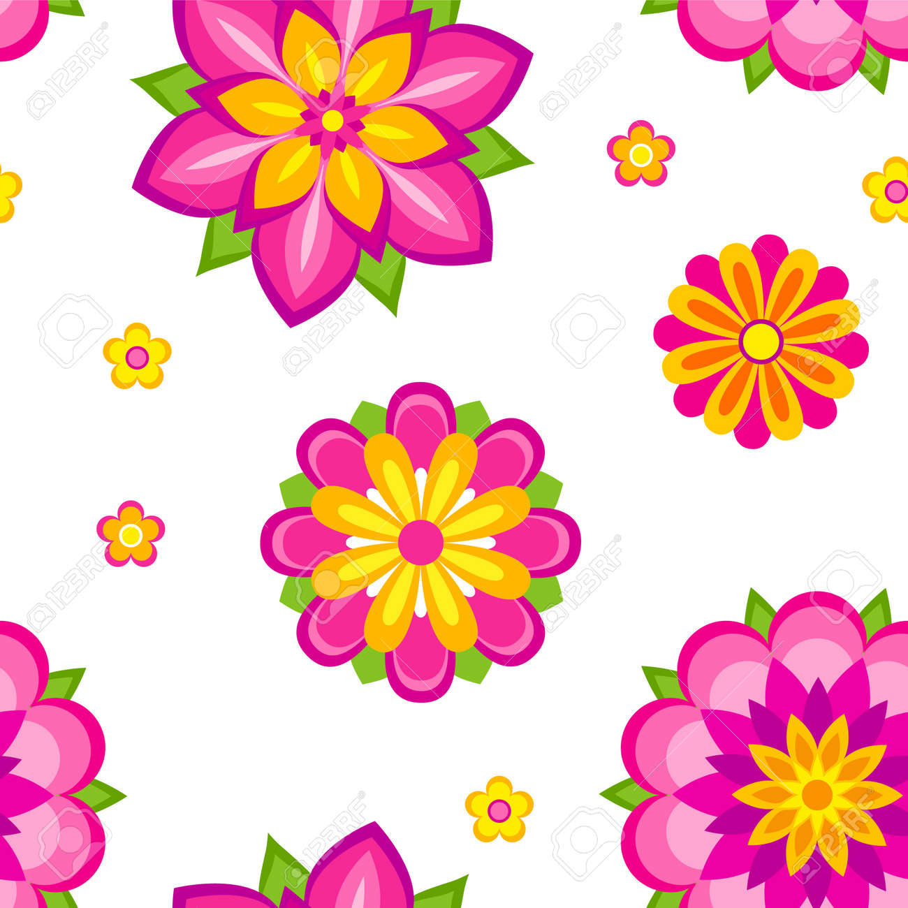 Seamless pattern of colorful decorative flowers Stock Vector - 10928299