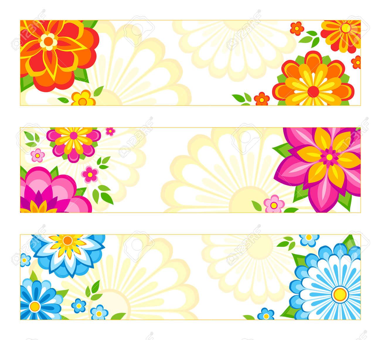 3 明るいバナー デザイン花とのセットです。 ロイヤリティフリークリップ