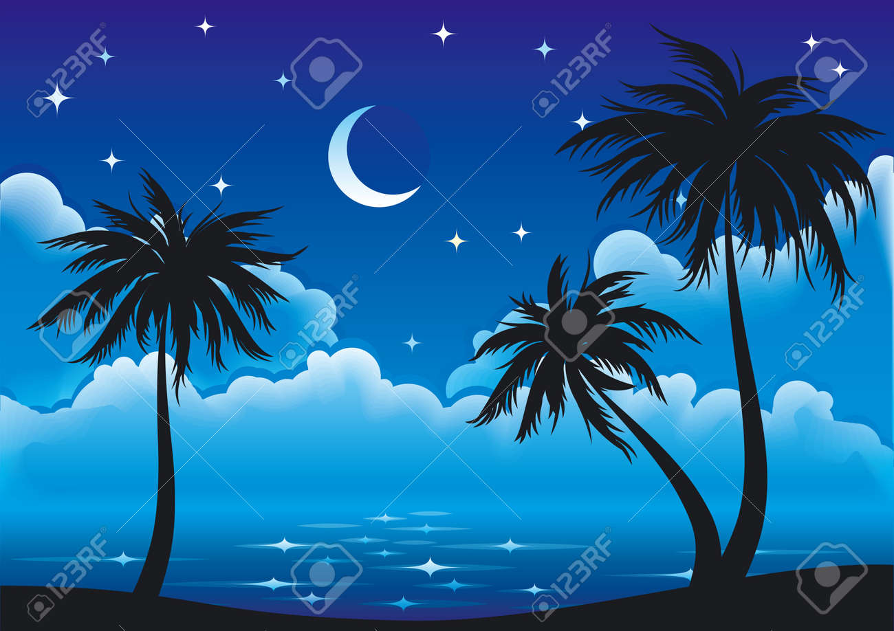 Night coast with palm-trees. Stock Vector - 10928176