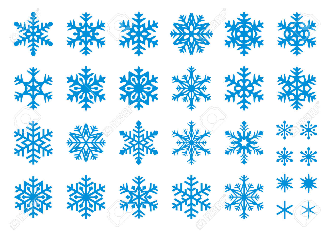 Set of 30 snowflakes, some with crisp edges and some with rounded angles. - 10928175