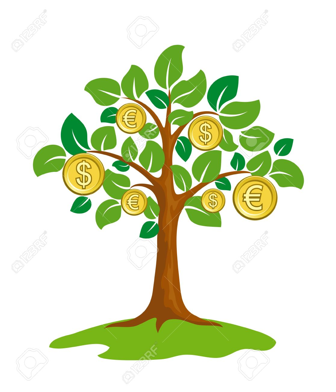dinero árbol con monedas ilustraciones vectoriales clip art