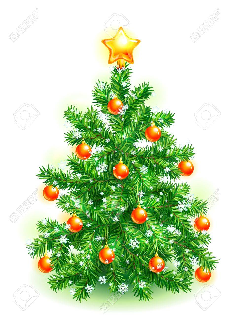 Christmas tree decorated with red balls, yellow star and snowflakes Stock Photo - 11307030
