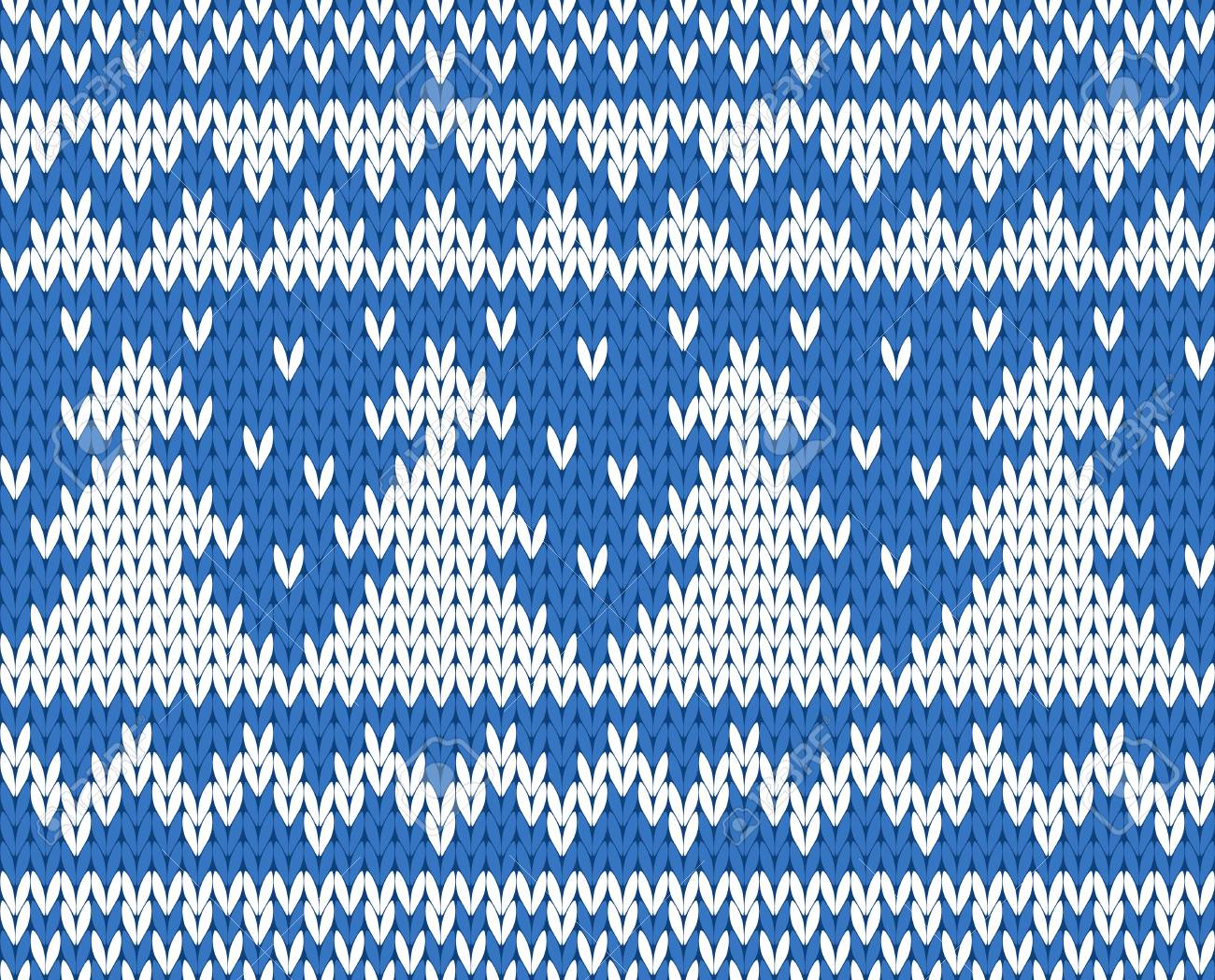 Knitted seamless pattern with fir-trees  blue   EPS8 Stock Vector - 24537420