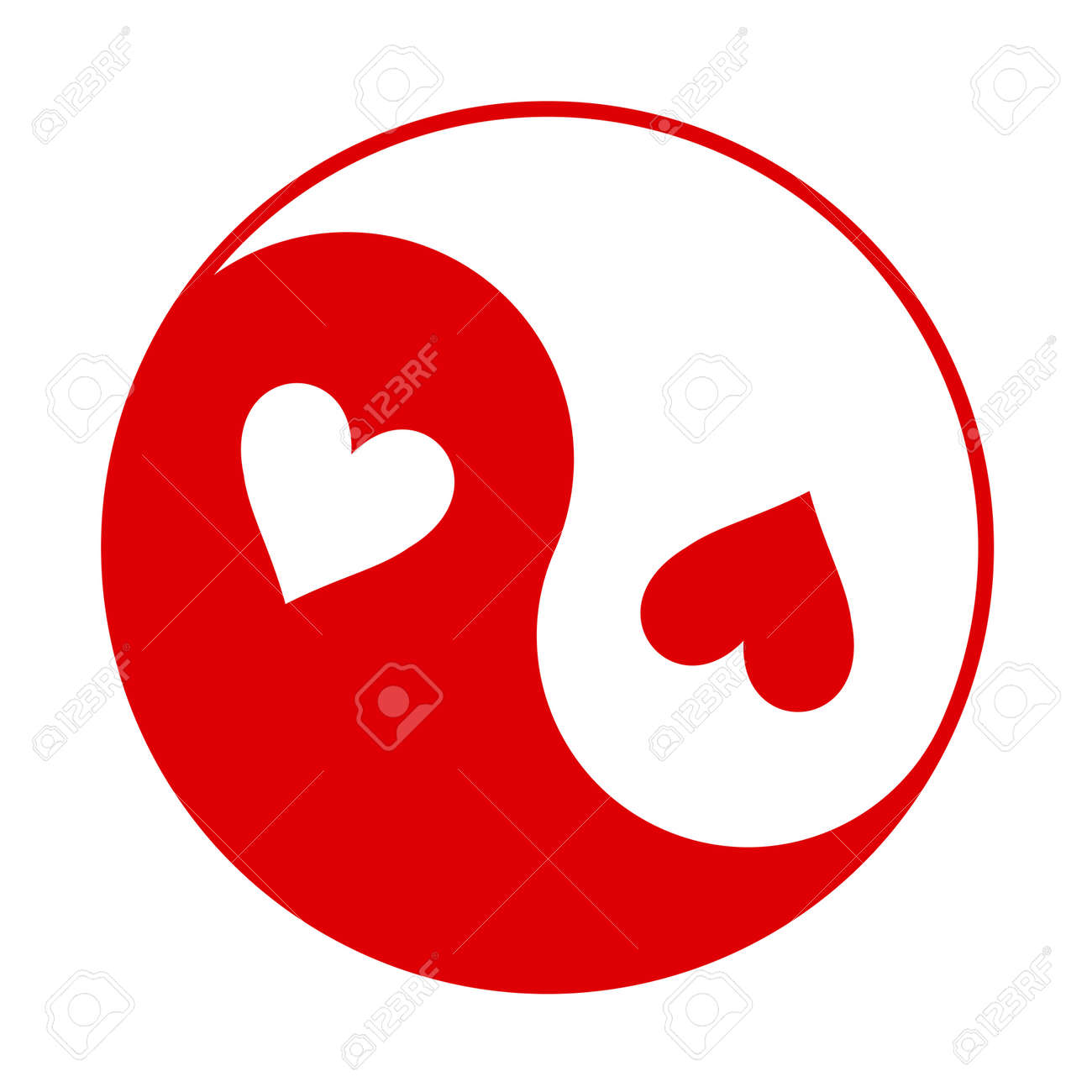 red and white yin yang symbol with hearts instead of dots royalty rh 123rf com Cool Yin Yang Yin Yang Drawings