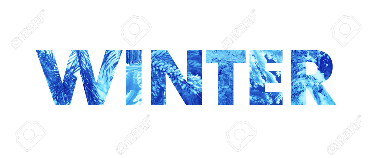 Winter Word - Bold Type Filled With Natural Photo Textures Stock Photo, Picture And Royalty Free Image. Image 84876582.