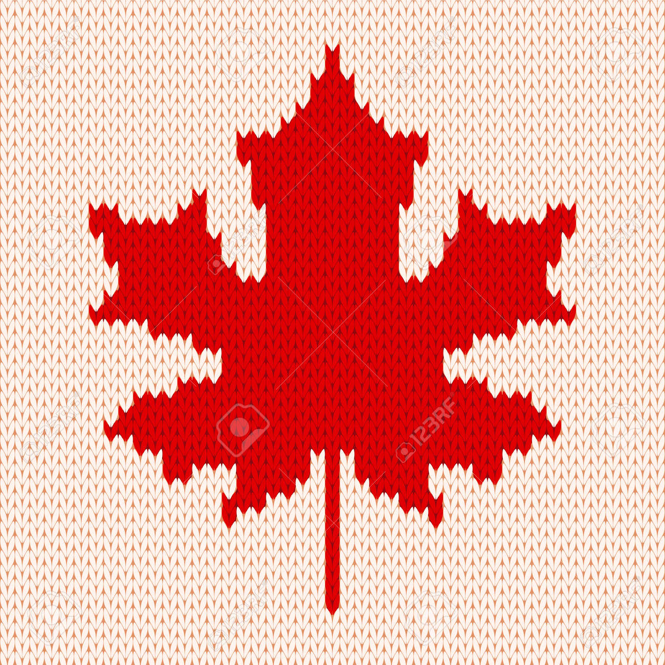 Seamless Knitting Pattern With Red Maple Leaf On White Background