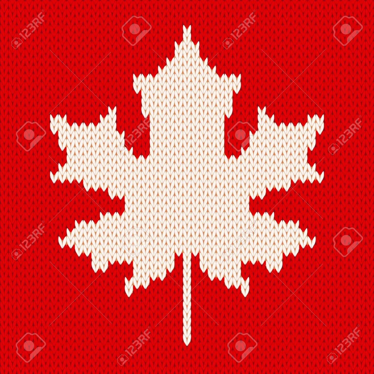 Seamless Knitting Pattern With White Maple Leaf On Red Background ...