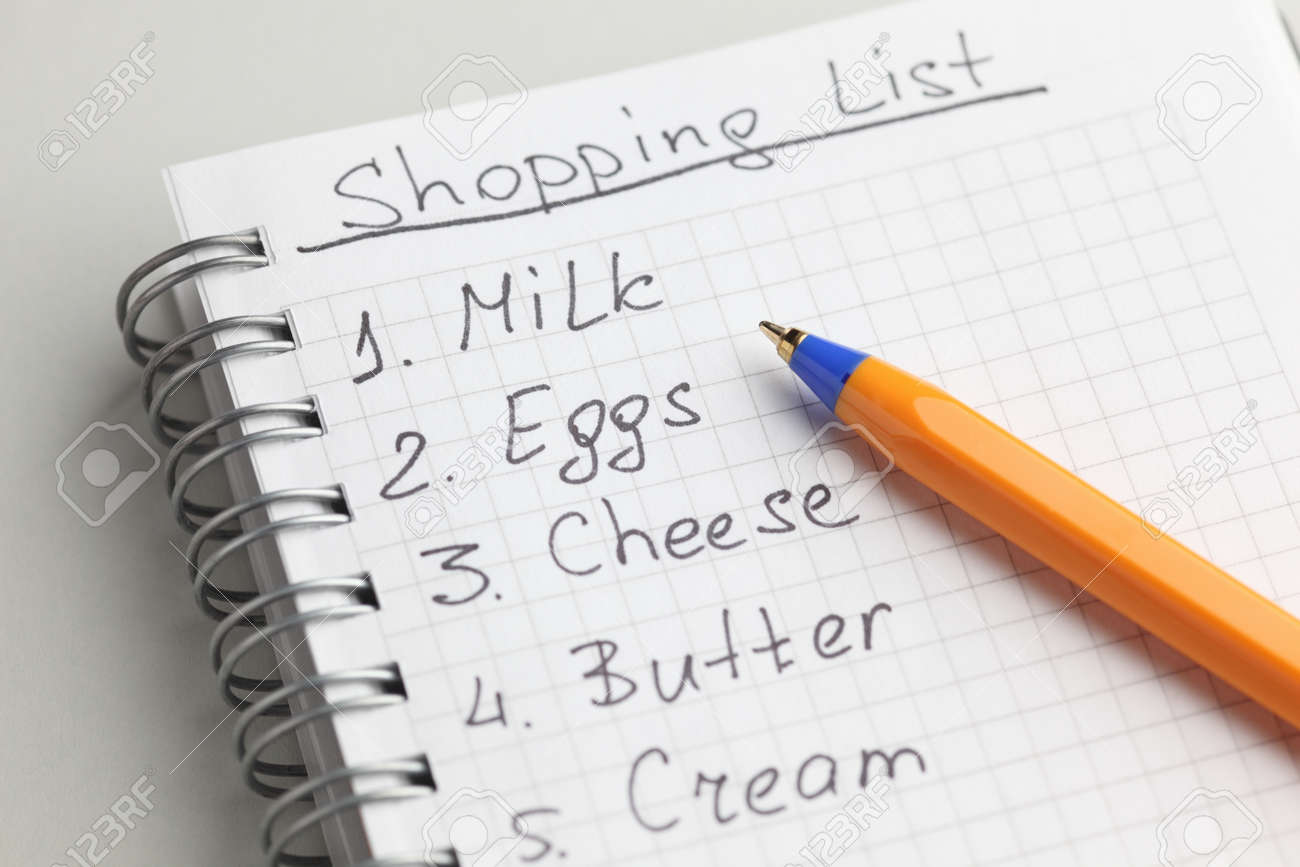 handwritten shopping list with ballpoint pen. stock photo, picture