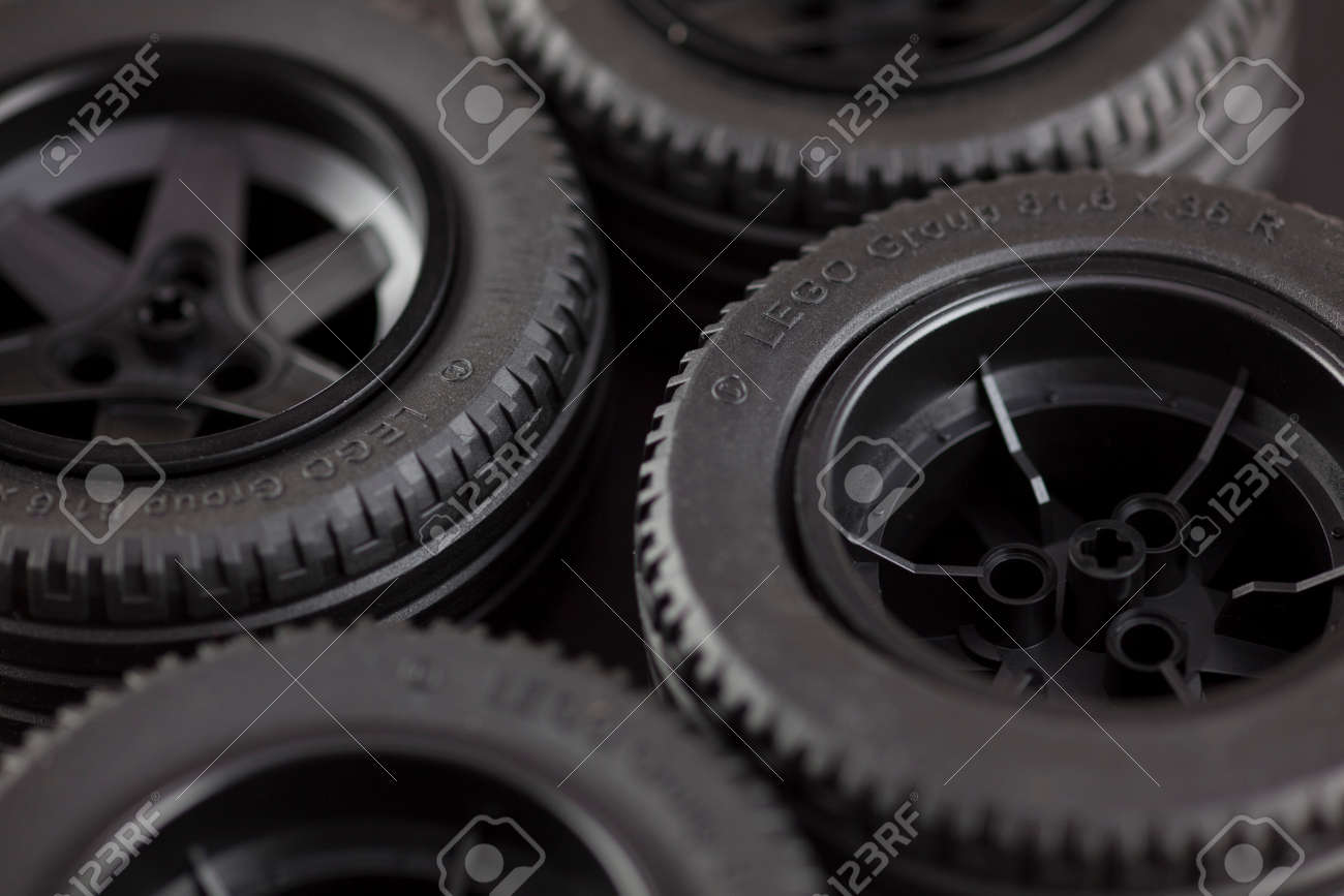 Tambov Russian Federation January 12 2014 Four LEGO tires on