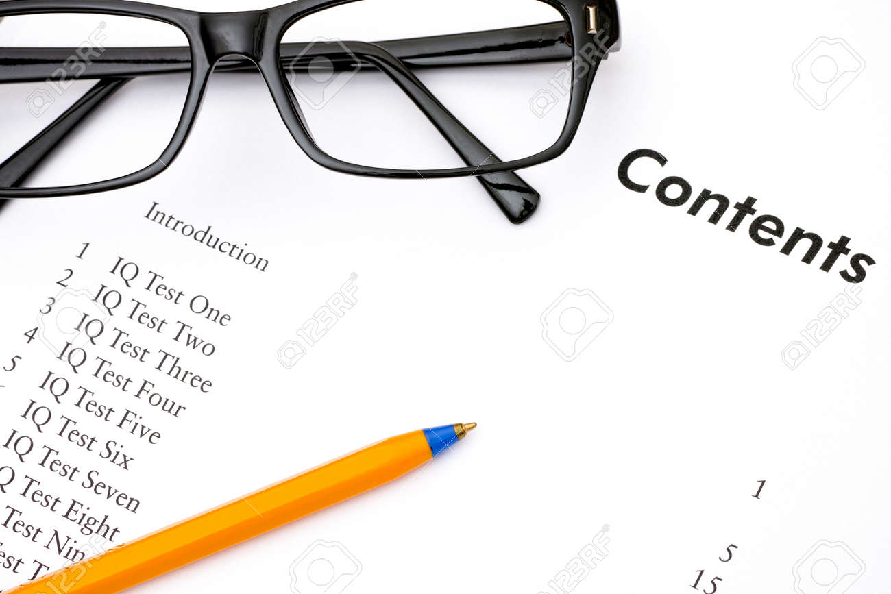 Contents Of Iq Tests Book With Glasses And Ballpoint Pen Stock Photo Diagram 59001104