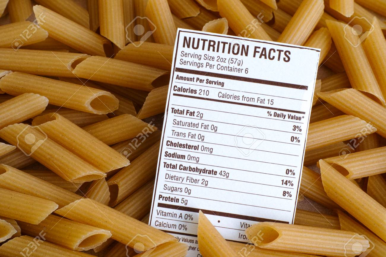 nutrition facts of brown rice pasta. close-up. stock photo, picture
