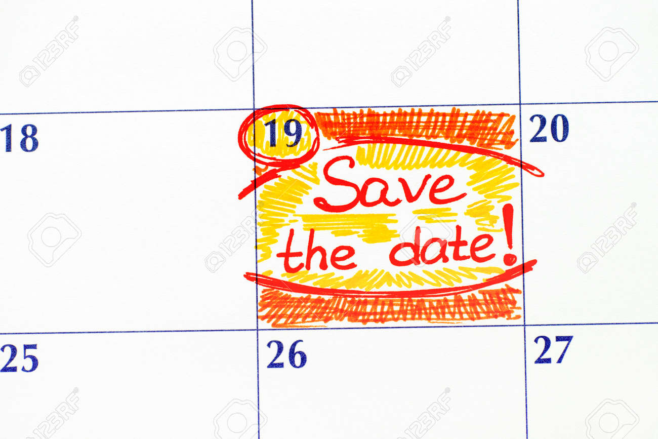 reminder save the date in calendar close up stock photo picture