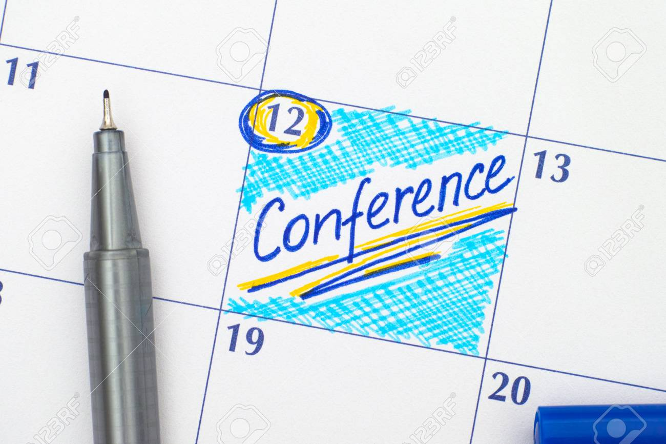 Reminder Conference In Calendar With Blue Pen