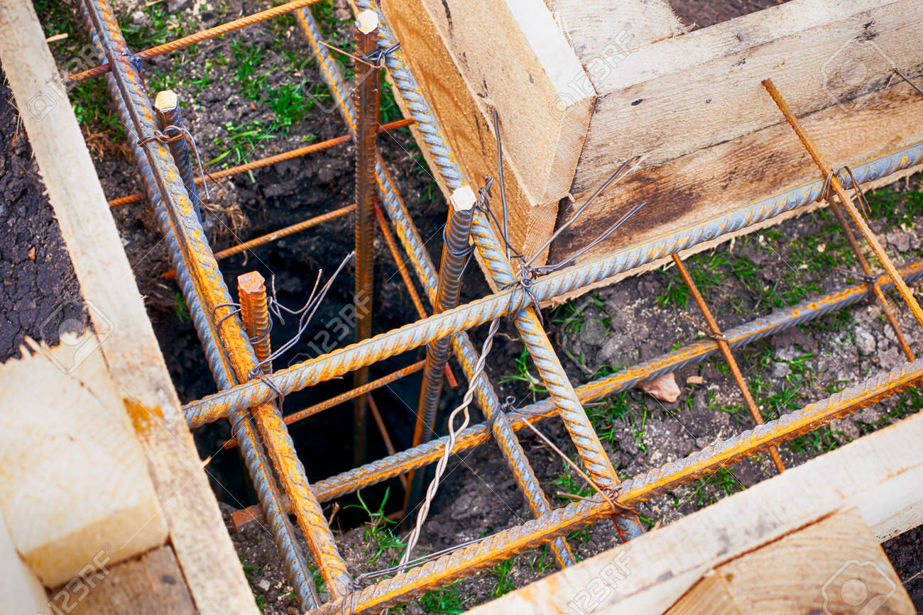 Traditional timber formwork with fittings on the ground  Close-up