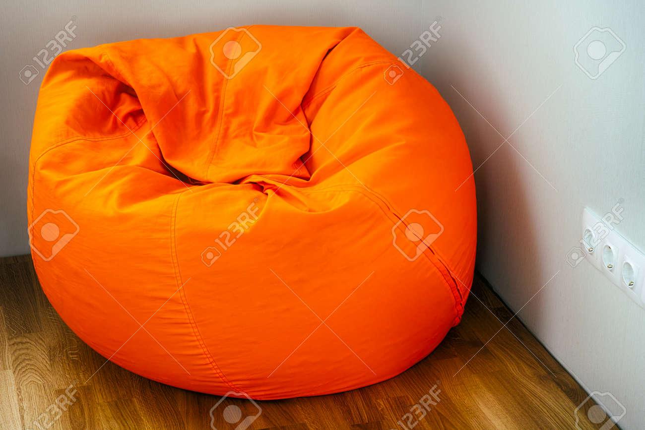 Orange Beanbag In Room Corner