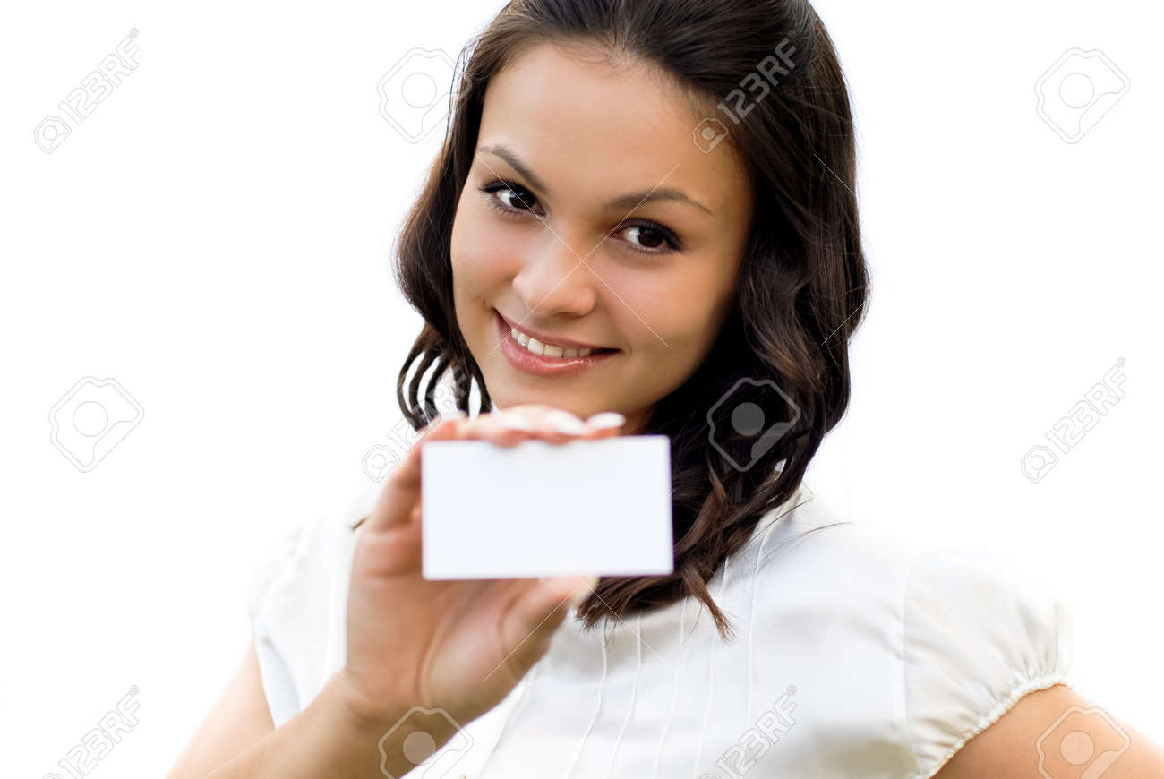 Young beautiful woman holding business card with copy space isolated over white background Stock Photo - 18034842